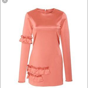 Cynthia Rowley Aeris Satin Ruffle Mini Dress Large